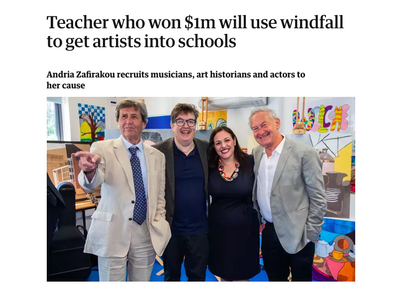Teacher who won $1m will use windfall to get artists into schools