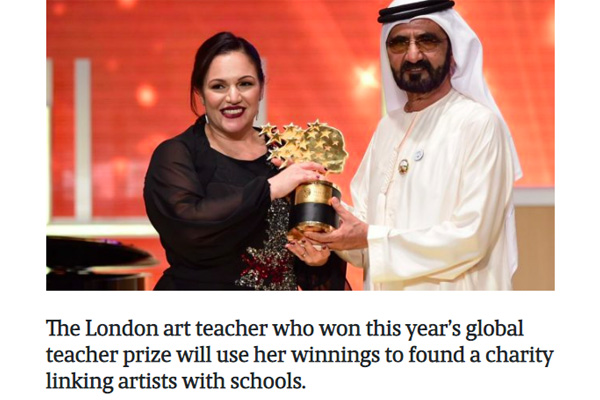 Global teacher prize winner Andria Zafirakou to found school arts charity